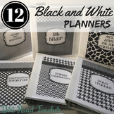 Teacher Planner 2019-20 Black White Ink Friendly Binder Covers