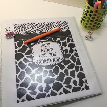 Teacher Planner 2019-20 Black White Ink Friendly Binder Covers