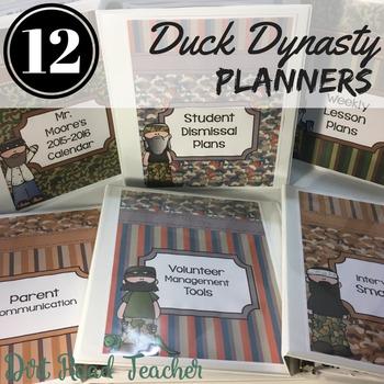 Teacher Binder Editable 2017-2018 Camo Duck Dynasty Covers