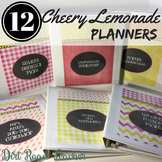 Teacher Planner 2018-2019 Editable Binder Covers pink yellow lemonade