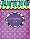 Teacher Binder Emergency Info Pages FREEBIE