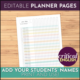 Teacher Binder Printables Student Checklist