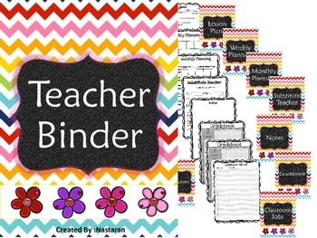 Editable Teacher Binder {Rainbow Chevron}