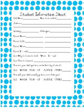 Teacher Binder Sheets