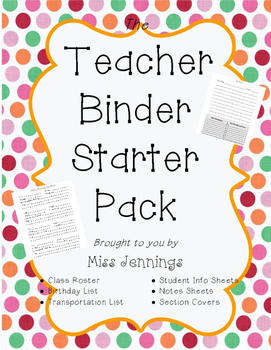Teacher Binder Starter Pack