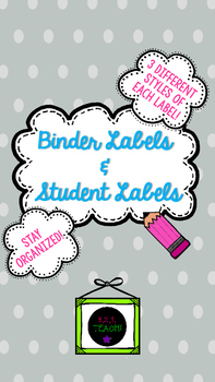 Teacher Binder/Student Label Organizer