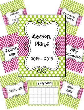 Teacher Binder, Sub Binder and Classroom Decor- Lime Green and Pink Polka Dots