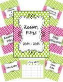 Teacher Binder, Sub Binder and Classroom Decor- Lime Green and Pink Polka Dots