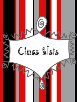 Teacher Binder Tabs - Red and Black