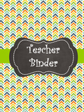 Teacher Binder Title Pages (Yellow, Blue, Green, & Orange)