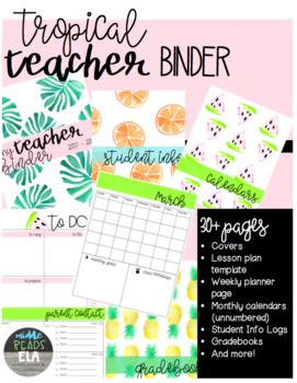 Editable Teacher Binder Tropical Watercolor [FREE UPDATES] 2017-2018
