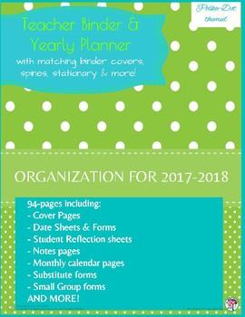 Teacher Binder & Yearly Planner Polka Dot Theme