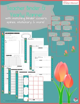 Teacher Binder & Yearly Planner Tulip Themed