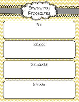 Teacher Binder - Yellow Chevron