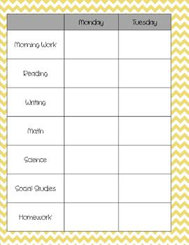Teacher Binder - Yellow Chevron