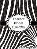 Teacher Binder - Zebra Themed Organization