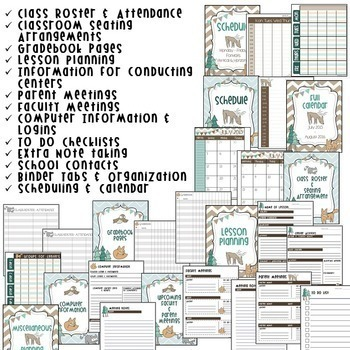 Teacher Binder and Classroom Decor - Woodland