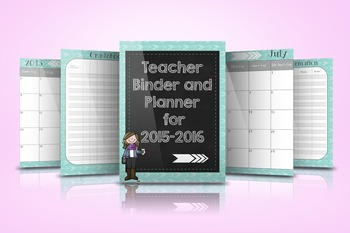 Teacher Binder and Planner for 2015-2016
