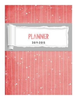 Teacher Binder and Yearly Planner Colorful Coral and Gray