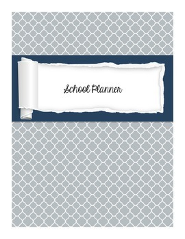 Teacher Binder and Yearly Planner Gracious Gray Quatrefoil