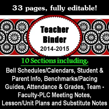 Teacher Binder for Middle and High School