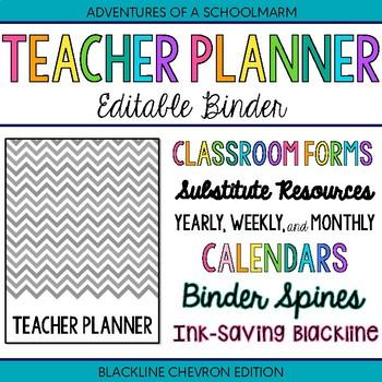 Editable Teacher Binder | FREE Updates | Teacher Planner 2017-2018 | Blackline