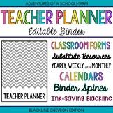 Editable Teacher Binder - Blackline Chevron