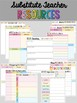 Teacher Binder and Planner - Editable, Lifetime, Sub Forms - Rainbow Chevron