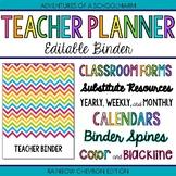 Editable Teacher Binder   FREE Updates Teacher Planner 2017-2018 Rainbow Chevron