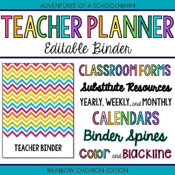 Editable Teacher Binder | FREE Updates Teacher Planner 2019-2020 Rainbow Chevron