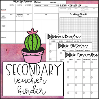 Teacher Binder for SECONDARY teachers- GROWING and UPDATES for life