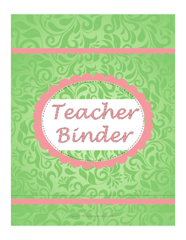 Teacher Binder - green and pink
