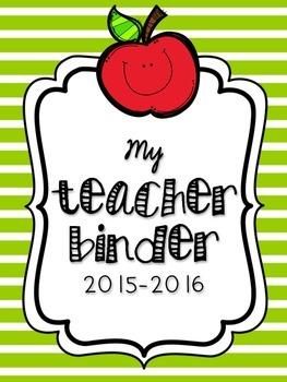 Teacher Binder in Green Stripe -- 36 Pages of Organization!