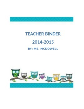 Teacher Binder pages with owls