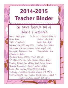 Teacher Binder {pink, purple, brown flower theme}