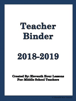 Teacher Binder with School Calendar and Classroom Forms