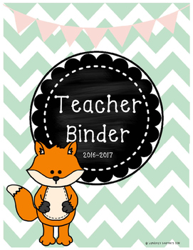Teacher Binder with Sub Plans - Pink and Mint