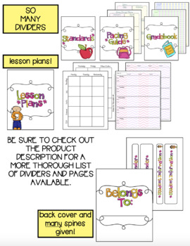 Teacher Binder with less color - (Including substitute packet)