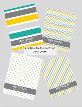 Teacher Binder and Planner *EDITABLE* Teal, yellow, aqua, grey