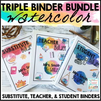 Teacher Binders Editable Watercolor 2018-2019
