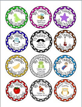 Teacher Brag Tags Buttons