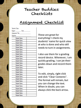 Teacher Buddies - Checklists