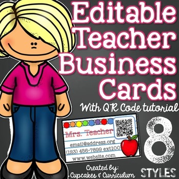 Teacher Business Card Magnet *EDITABLE* with QR Code