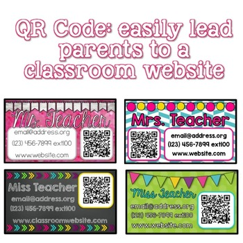 Teacher Business Card Magnet EDITABLE with QR Code by Cupcakes n