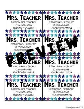 Teacher Business Cards - Stars *EDITABLE*