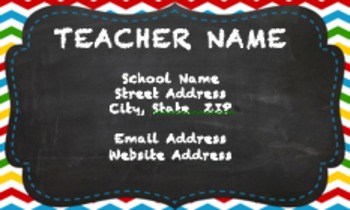 Chevron Chalkboard Teacher Business Card and/or Magnet