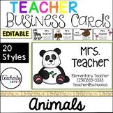 Teacher Business Cards - Animals *EDITABLE*