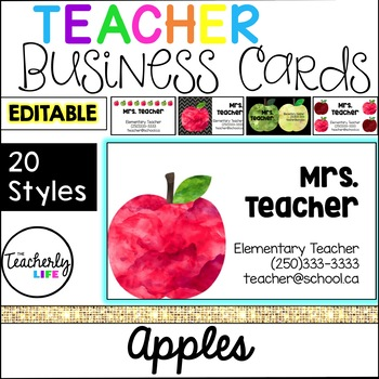 Teacher Business Cards - Apples *EDITABLE*