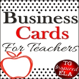 Teacher Business Cards [Black Dot + Apple]-- 2 Sizes for Wallets & Refrigerators