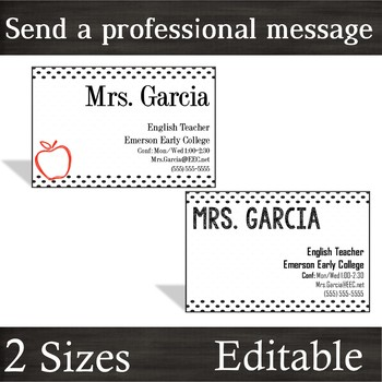 Teacher Business Cards [Black Dot + Apple]-- 2 Sizes for Wallets & Refrigerators